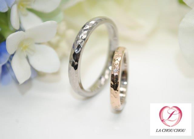 手作り結婚指輪 ブラックゴールド&ホワイトゴールド・ピンクゴールド コンビゴールド